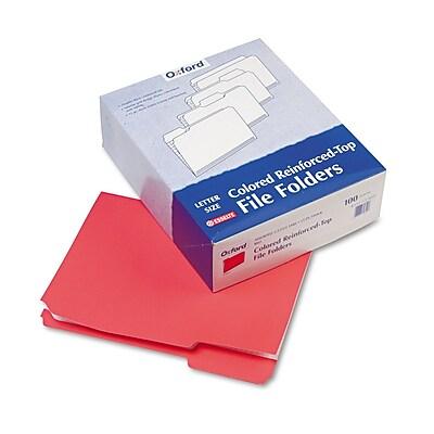 Pendaflex Reinforced Top Tab File Folders, 1/3 Cut, Letter, Red, 100/Box