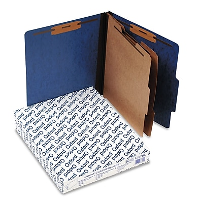 Pendaflex® Color Press Guard® Classification Folders, 2/5-Cut Top Tab, 2 Dividers, 10/Box (1257BL)
