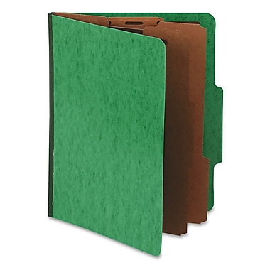Pendaflex® Press Guard® Classification Folders, 2/5-Cut Top Tab, 2 Dividers, 10/Box (1257GR)