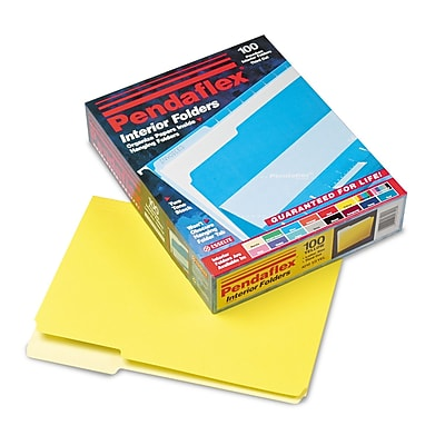 Pendaflex Interior Folder, 1/3 Tab Cut, Yellow, LETTER-size Holds 8 1/2