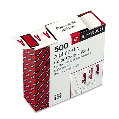 Smead BCCR Bar-Style Color-Coded Alphabetic Label, A, Label Roll, Red, 500 labels/Roll, (67071)