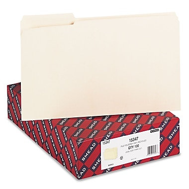 Smead® 100% Recycled File Folder, Reinforced 1/3 Cut Tab, Legal Size, Manila, 100 Per Box (15347)