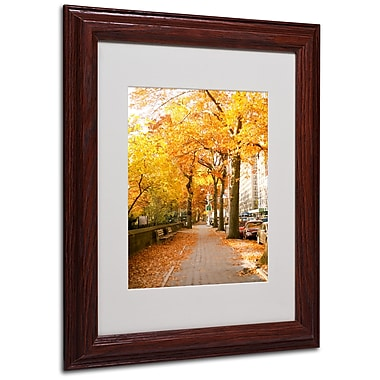 Ariane Moshayedi 'Fall On The Street' Matted Framed Art - 11x14 Inches - Wood Frame