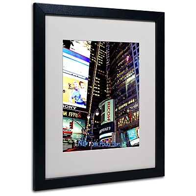 Trademark Fine Art Ariane Moshayedi 'Time Square Lights' Matted Art Black Frame 16x20 Inches