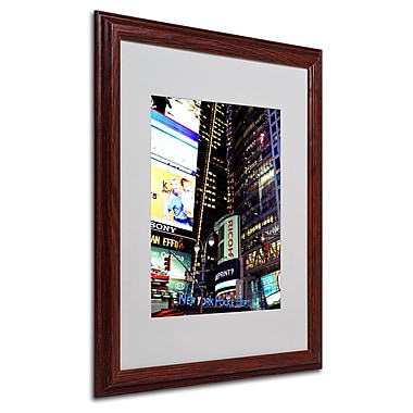 Ariane Moshayedi 'Time Square Lights' Matted Framed Art - 16x20 Inches - Wood Frame