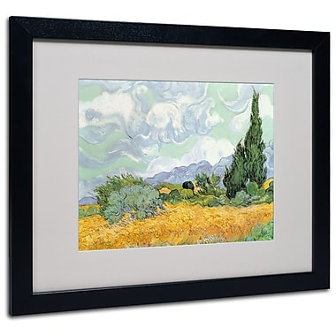 Trademark Fine Art Vincent van Gogh 'Wheatfield with Cypresses 1889' Matted Fr Black Frame 16x20 Inches