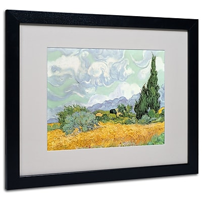 Trademark Fine Art Vincent van Gogh 'Wheatfield with Cypresses 1889' Matted Fr Black Frame 16x20 In