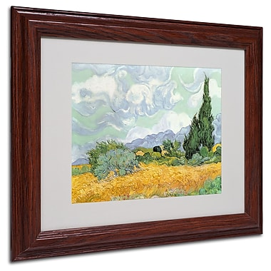 Vincent van Gogh 'Wheatfield with Cypresses 1889' Matted Fr - 11x14 Inches - Wood Frame