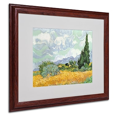 Vincent van Gogh 'Wheatfield with Cypresses 1889' Matted Fr - 16x20 Inches - Wood Frame