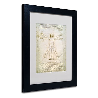 Trademark Fine Art Leonardo da Vinci 'The Proportions of the Human Figure' Matt Black Frame 11 x 14 Inches