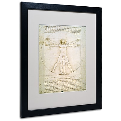 Trademark Fine Art Leonardo da Vinci 'The Proportions of the Human Figure' Matt Black Frame 16 x 20 Inches