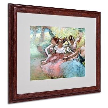 Edgar Degas 'Four Ballerinas on the Stage' Matted Framed Art - 16x20 Inches - Wood Frame