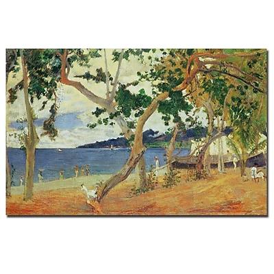 Trademark Fine Art Paul Gaugin 'By the Seashore Martinique 1887' Canvas Art 14x24 Inches
