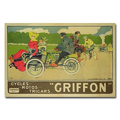 Trademark Fine Art Walter Thor 'Griffon Cycles Motors & Tricars' Canvas Art 16x24 Inches