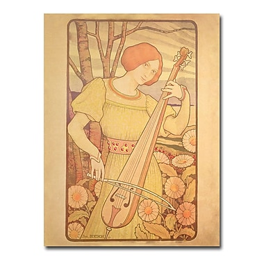 Trademark Fine Art Paul Brethon 'Young Woman with Lute 1872' Canvas Art