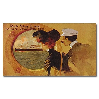Trademark Fine Art 'Red Star Line' Canvas Art 14x24 Inches