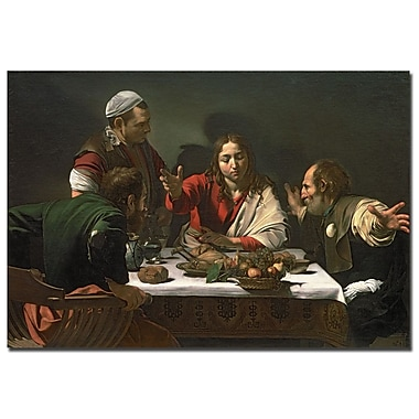 Trademark Fine Art Caravaggio 'The Supper at Emmaus 1601' Canvas Art 16x32 Inches