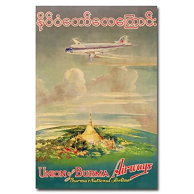 Trademark Fine Art Union of Burma Airways 1950' Canvas Art 22x32 Inches
