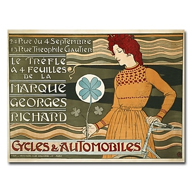 Trademark Fine Art Eugene Grasset 'Geroges-Richards Bycicles & Cars' Canvas Art 18x24 Inches