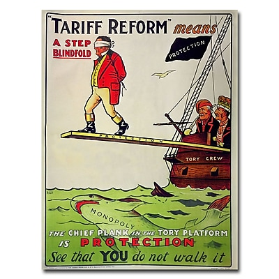 Trademark Fine Art Tariff Reform Means a Step Blindfold 1910' Canvas Art 18x24 Inches