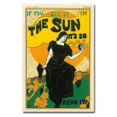 Trademark Fine Art Louis Rhead 'The Sun Newspaper 1895' Canvas Art 22x32 Inches