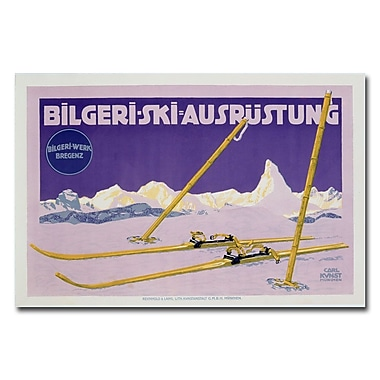 Trademark Fine Art Carl Kunst 'Skiing in Austria 1912' Canvas Art