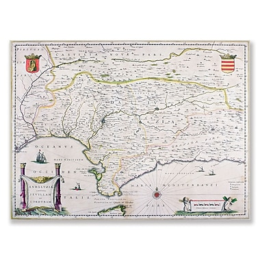 Trademark Fine Art Map of Andalusia Spain' Canvas Art 18x24 Inches