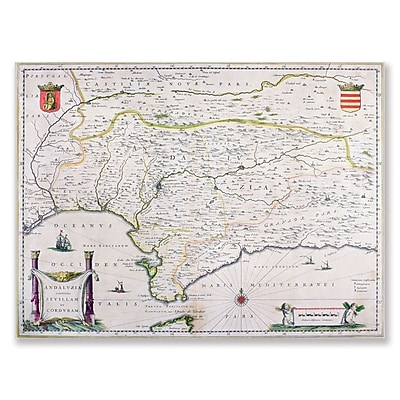 Trademark Fine Art Map of Andalusia Spain' Canvas Art 14x19 Inches