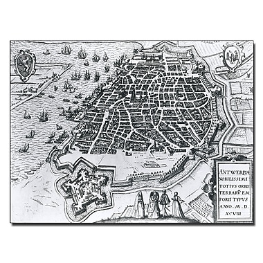 Trademark Fine Art Map of Antwerp 1598' Canvas Art 24x32 Inches