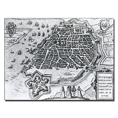 Trademark Fine Art Map of Antwerp 1598' Canvas Art 14x19 Inches