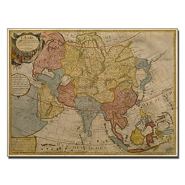 Trademark Fine Art Paris Guillaume Delilse 'Map of Asia, 1700' Canvas Art 14x19 Inches