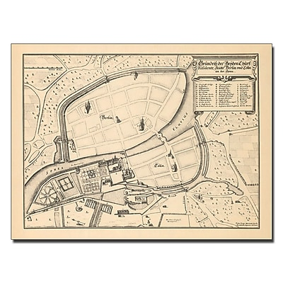 Trademark Fine Art Memhardt 'Map of Berlin and Coelln 1652' Canvas Art 18x24 Inches