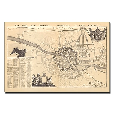Trademark Fine Art Dusableau 'Map of Berlin 1737' Canvas Art 14x19 Inches