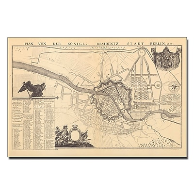 Trademark Fine Art Dusableau 'Map of Berlin 1737' Canvas Art 30x47 Inches