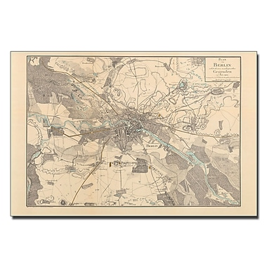Trademark Fine Art Schneider 'Map of Berlin 1802' Canvas Art 14x19 Inches