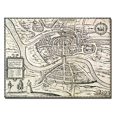 Trademark Fine Art Braun Hogenberg 'Map of Bristol 1581' Canvas Art