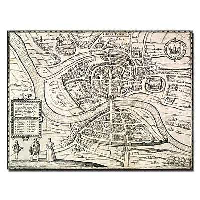 Trademark Fine Art Braun Hogenberg 'Map of Bristol 1581' Canvas Art 35x47 Inches