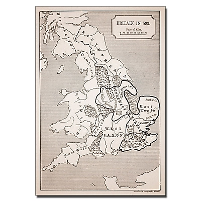 Trademark Fine Art 'Map of Britain in 593' Canvas Art 16x24 Inches