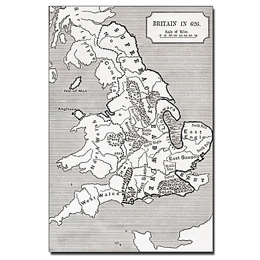Trademark Fine Art 'Map of Britain in 626' Canvas Art 30x47 Inches