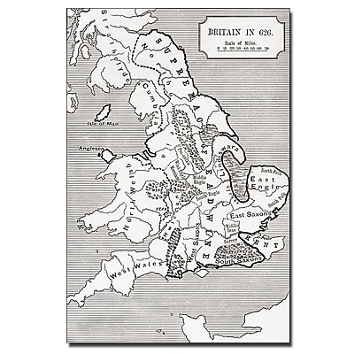 Trademark Fine Art 'Map of Britain in 626' Canvas Art 14x19 Inches