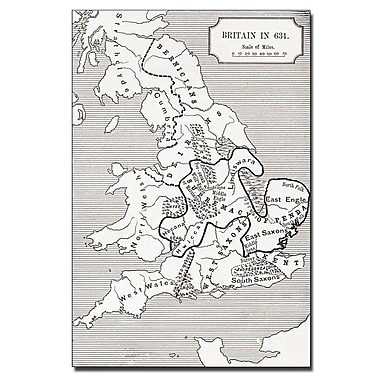 Trademark Fine Art 'Map of Britain in 634' Canvas Art 16x24 Inches