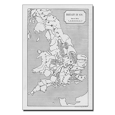 Trademark Fine Art 'Map of Britain in 658' Canvas Art 16x24 Inches