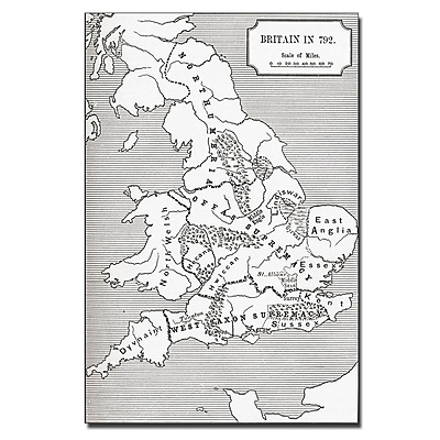Trademark Fine Art 'Map of Britain in 792' Canvas Art 30x47 Inches