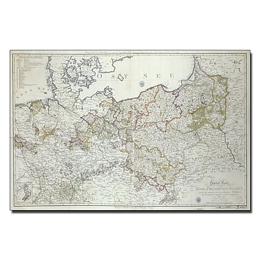 Trademark Fine Art 'Map of the Prussian States, 1799' Canvas Art 14x19 Inches