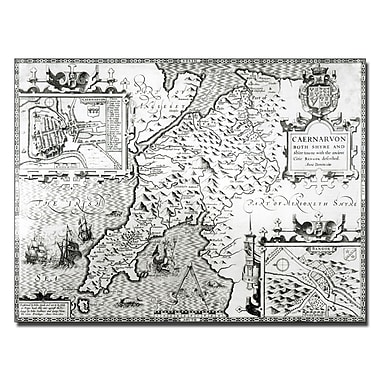 Trademark Fine Art John Speed 'Map of Caernarvon 1616' Canvas Art 18x24 Inches