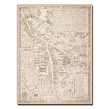 Trademark Fine Art Richard Lyne 'Map of Cambridge 1574' Canvas Art 14x19 Inches