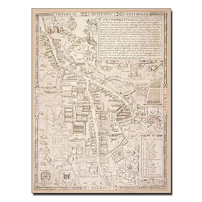 Trademark Fine Art Richard Lyne 'Map of Cambridge 1574' Canvas Art 18x24 Inches