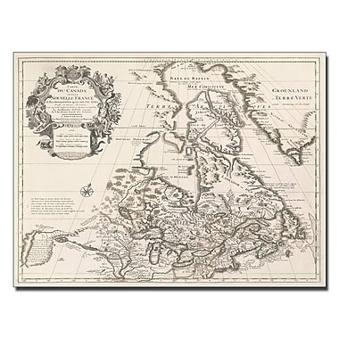 Trademark Fine Art Guillaume Gelisle 'Map of Canada or New France' Canvas Art 14x19 Inches