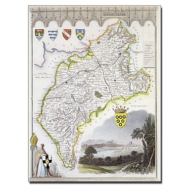 Trademark Fine Art 'Map of Cumberland c. 1836' Canvas Art 14x19 Inches