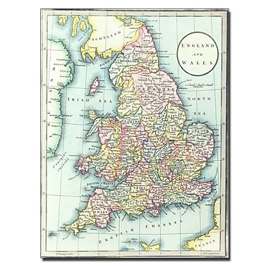 Trademark Fine Art R.H. Laurie 'Map of England & Wales 1852' Canvas Art 18x24 Inches